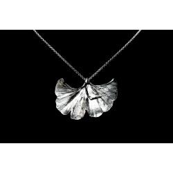 Collier Feuille de Ginkgo Argent 999 sur chaîne Argent 925