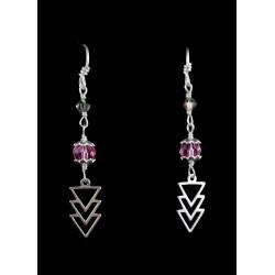 Boucles d'oreille Argent 925, Cristal de Swarovski gris et rose, Triangles