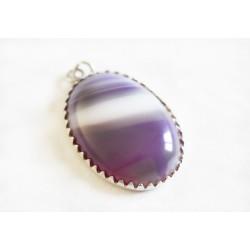 Pendentif Agate Purple Lace et Argent 925