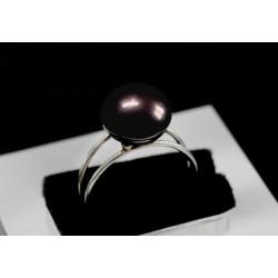 Bague Argent 925 et Perle de Culture noire