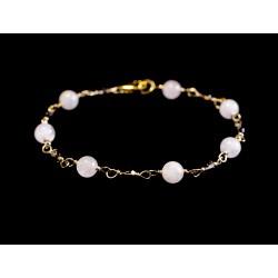 Bracelet Gold Filled, Morganite et Quartz fumé