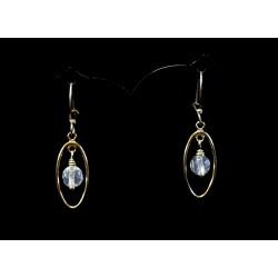 Boucles d'oreille Gold Filled Ovales avec Cristal de Roche à facettes