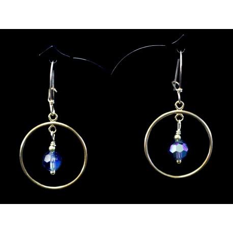 Boucles d'oreille Gold Filled Créoles avec Cristal de Swarovski bleu