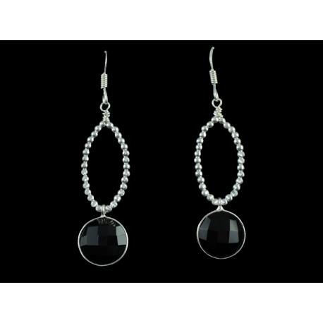 Boucles d'oreille Argent 925 et Onyx noir