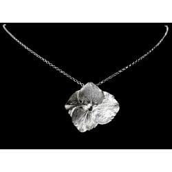 Collier Fleur d'Hortensia en Argent 999 sur chaîne Argent 925