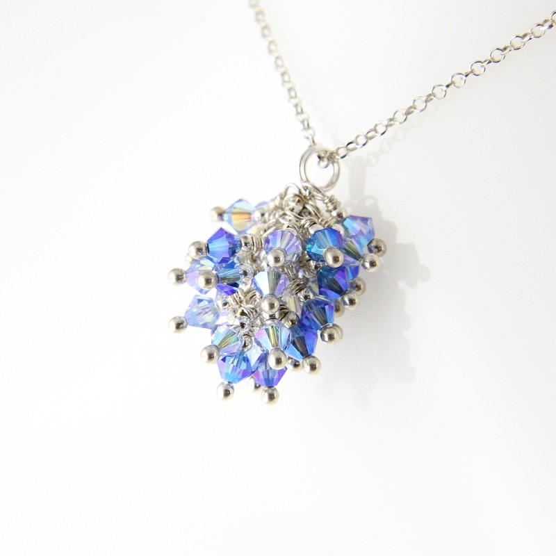 collier argent 925 et grappe cristal de swarovski bleu c lise cr ations. Black Bedroom Furniture Sets. Home Design Ideas
