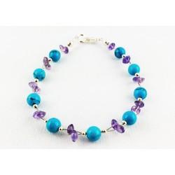Bracelet Argent 925, Améthyste et Turquoise