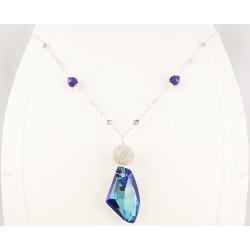 Collier Argent 925, Cristal de Swarovski et Perle Filigrane Argent 999